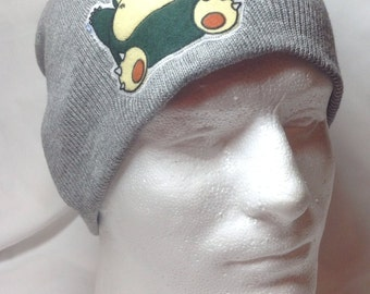 Pokemon Snorlax Beanie Skullcap Hat - made with up-cycled Pokemon fabric