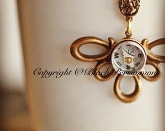Compass Necklace No. 2 - Working Compass - Made in USA Findings - Antique Brass -  Free Domestic Shipping