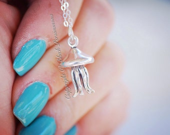 Jellyfish Necklace - Sterling Silver 3D Charm - Insurance Included