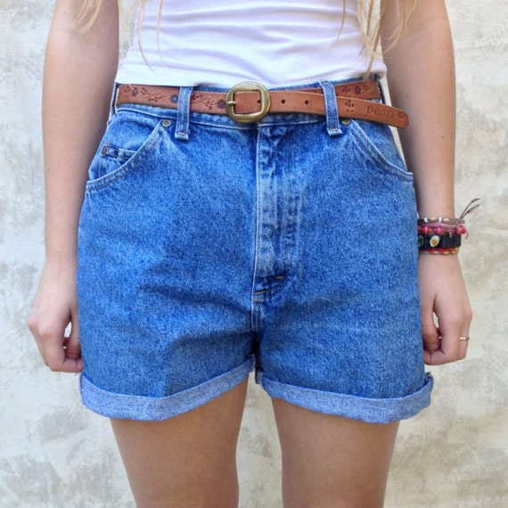 High Waist Denim Shorts 80s Mom Jeans Hipster Rolled Hem