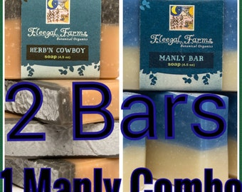 A Man's Man. Two bars of soap for your man in all natural earthy combinations. Ready to ship. Gifts for Dads and Grads. Palm Free