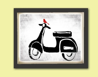 Vespa Print - Fine art print, Modern decor scooter, bike print, Vespa art, Mothers Day