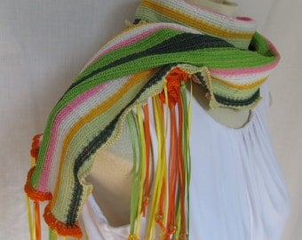 Citrus Stripes Scarf Bright Fiesta Beaded Ribbon Fringe Scarf