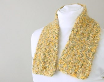 Hand Crocheted, Unisex Green and Gold City Scarf for Adults