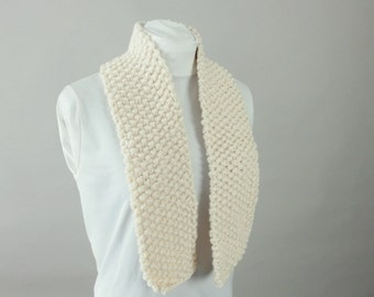 Thick Knit Wool Blend Unisex City Scarf in Natural Beige, Size Adult