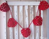 Red Heart Garland - Crochet Heart Garland - Crochet Valentines Day - Valentines Day Banner - Heart Bunting - Heart Banner