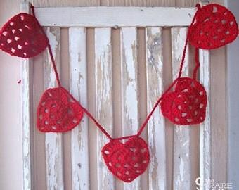 Red Heart Garland - Crochet Heart Garland - Crochet Valentines Day - Valentines Day Banner - Heart Bunting - Heart Banner