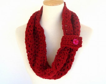 Cardinal Red and Sequin Crochet Cowl Neck Warmer Infinity Scarf Soft Winter Fashion