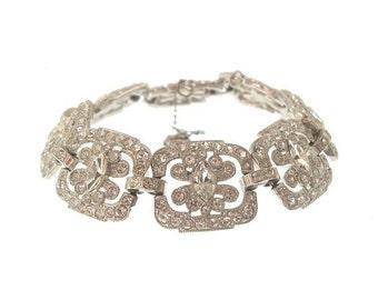 Crystal Art Deco Bracelet, Marquis Vintage Rhinestone Cuff, 1920s Antique Deco Wedding Jewelry