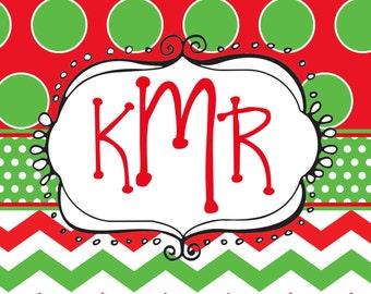 Custom hand made whimsical personalized monogram Christmas notecards holiday stationery funky monogram cards