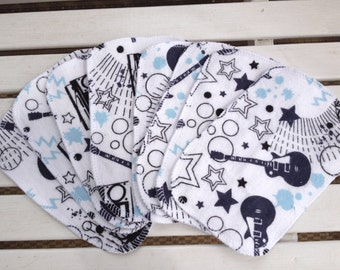 Cloth diaper, multi purpose wipes, 8 pack, rock star print flannel