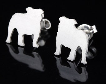 English Bulldog 'Bully' Sterling Silver Silhouette Earring Studs