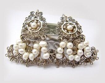 Mexican Filigree Earrings, Chandelier Earrings, Frida Kahlo Earrings, Antique Filigree Earrings, Oaxacan Earrings