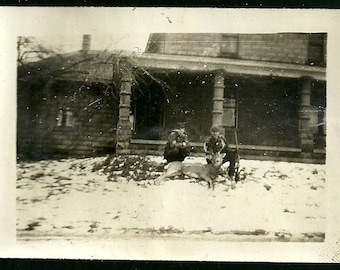 Antique Photo Hunters With Slain Deer Kill At Victorian Stone House Vintage Sports Photograph