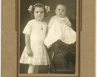 Antique Edwardian Cabinet Card Photo Children Mary And Ralph Thompson Vintage Photograph