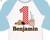 First birthday shirt - cookies with a side of chocolate milk birthday boy or girl 1st (or any) birthday cookies raglan Tshirt