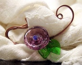 Handmade Flamework Glass and Copper Shawl Pin / Scarf Pin