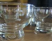 "Vintage Initial Glassware, Set of Four Vintage Glass Cups With Engraved Letter ""E"""