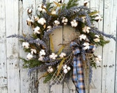 Country Cotton Wreath, Everyday Cotton Wreath, Wreath for Door, Rustic Wreath