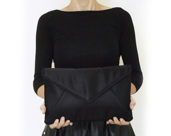 Large black satin Katerina envelope clutch