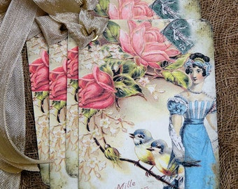 French Paris Victorian Lady Rose Bird Gift or Scrapbook Tags or Magnet #462