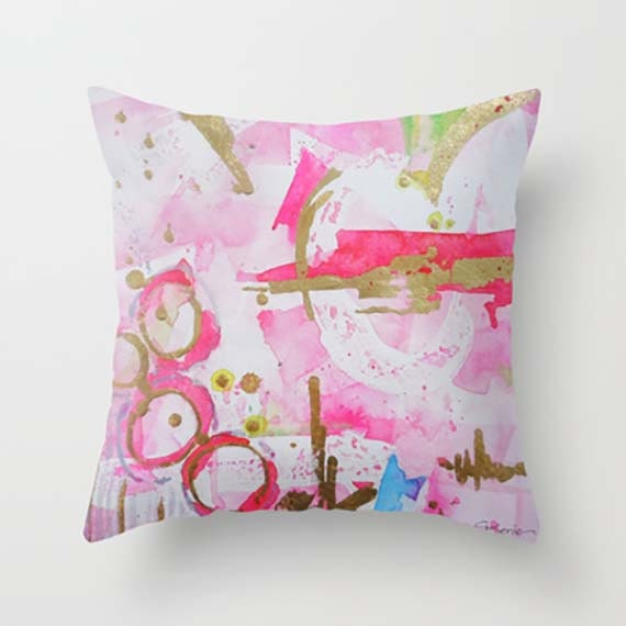Etsy Pink Throw Pillow : Items similar to Abstract Pink Throw Pillow Cover-Decorative Cushion Cover-Home Decor on Etsy