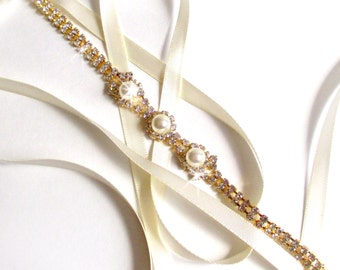 Gold Rhinestone Ribbon Bridal Headband - White or Ivory Satin - Gold Crystal Pearl
