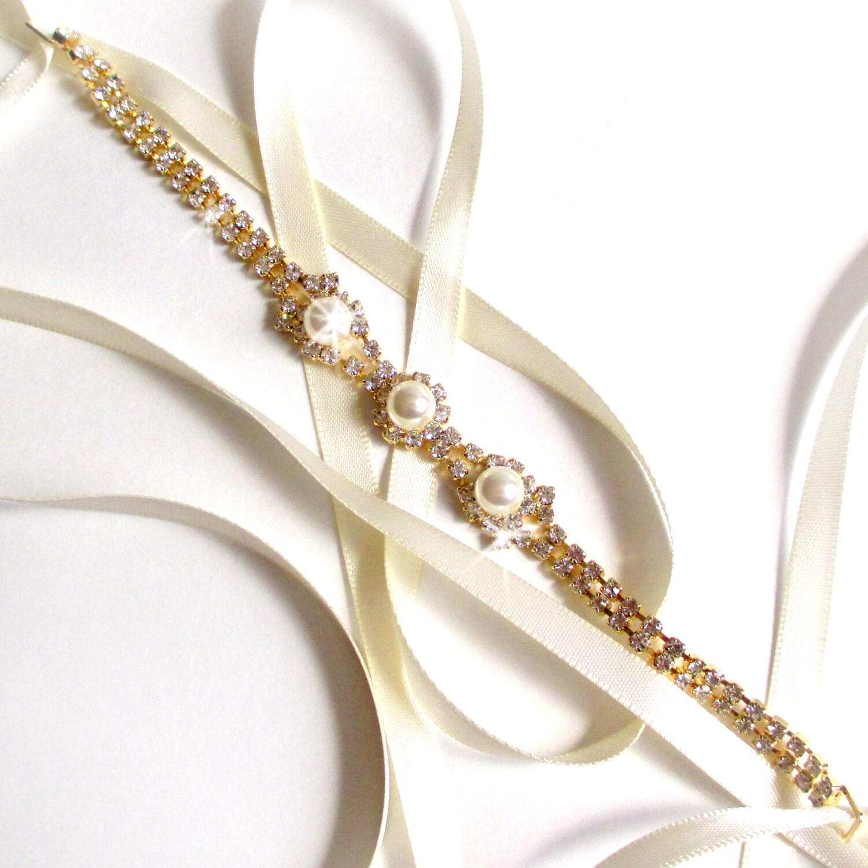 Gold Rhinestone Ribbon Bridal Headband White Or Ivory Satin