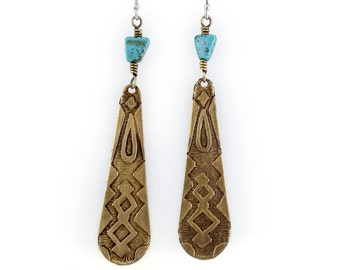 Etched Brass Drop Earrings with Turquoise Magnesite