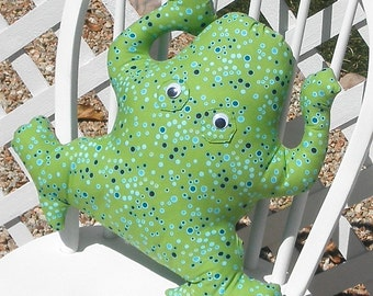 Frog Lime Green Cotton Pillow Adult Toy Stuffed Animal Handmade