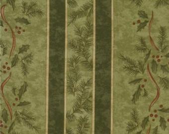 "Christmas Fabric Holly Taylor Birchwood Lane Stripe in Green 34"" piece"