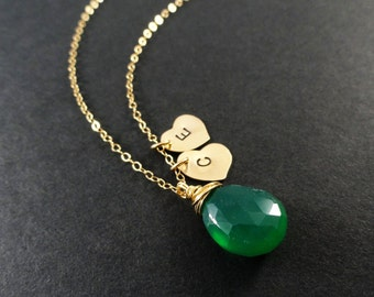 Two initial necklace, Mothers necklace, Couples initials necklace, Custom gemstone, emerald green, Two hearts, charm necklace, monogram