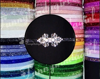 Rhinestone Connector Crystal Bow Glitter Elastic Headband Choose Color from 72 Band Colors 3/8 inch Custom sized Baby to Adult Stretch Spark