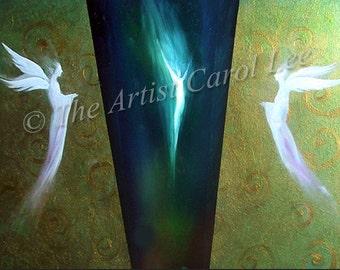 Large modern abstract turquoise painting fine art giclee print original acrylic Angels on canvas Carol Lee aka Leearte