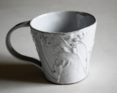 Rustic Chic Tin-glazed Ceramic Coffee / Hot Chocolate Mug with wild flower details (No.7)