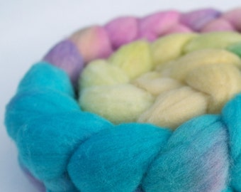 "MerinoTop / Roving -  4 oz braid handpainted colorway ""His High & Mighty Prince Tiddly-Push"" Gradient"