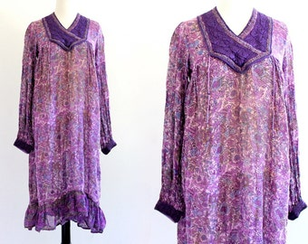 70s Vintage Indian Tent Cotton Boho Hippie India Imports Bib Hippy Ethnic Purple Festival Maxi Dress . XS . S . No.648.11.17.13