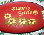 """Vintage Christmas Tray, Season's Greetings, 1962, Almost Perfect, Gold Accents, 18"""" x 11.5"""""""