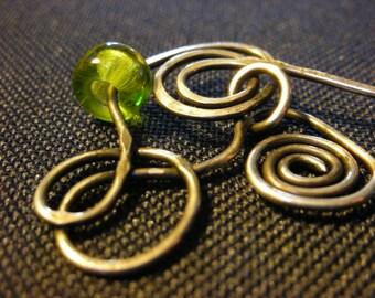 Green Glass Bead/Silver Hair Pin/Shawl Pin