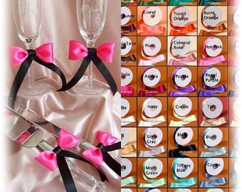 Wedding Cake Cutting Set Knife and Server and Champagne Toasting Glasses - Cake Knife Set - Toasting Glasses Custom Satin Ribbons