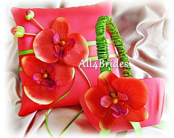 Ring bearer pillow and flower girl basket - coral and green - coral reef wedding ring cushion and basket