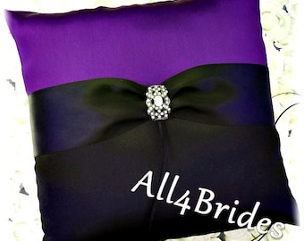 Purple and black wedding ring bearer pillow, wedding ring cushion.