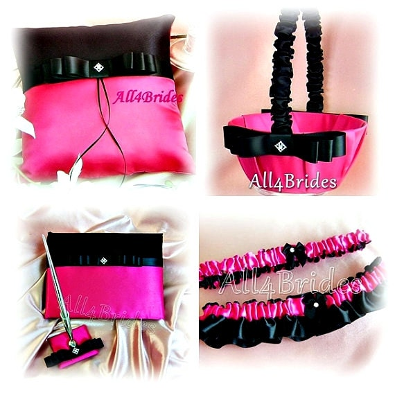 Black and hot pink wedding ring pillow basket guest book