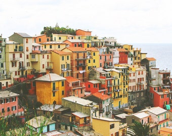 Italy Photograph Print of Cinque Terre Italy - Italian Landscape, Travel Photography, Italy Art, Photo Print Wall Art, Distressed Vintage