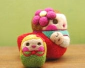 Needle Felted Baby Wearing Mama and Children WOOLY Made to Order