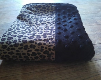 Waterproof Changing Pad - Brown Black Leopard & Minky - 16 x 30 - Easy Care Mat Wash/Dry