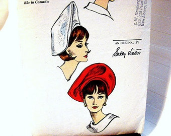1960s Vogue Womens Hat Pattern Designer SALLY VICTOR Misses size Vintage Sewing Pattern