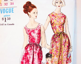 Vintage 1960s Dress Pattern, Misses size 12, Vogue Pattern, Womens Fitted Bodice Sheath Dress with Overskirt Sewing Pattern