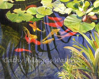 Koi fish art watercolor painting print by Cathy Hillegas, 8x10, watercolor print, lily pads, orange red, yellow, green, blue, koi watercolor