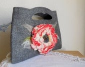 Handbag Elegance...Purse - Tote...Hand Made...Hand Made Flower...Hand Felted Design